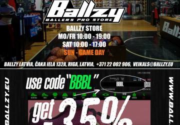 35% DISCOUNT – BALLZY  – BALLERS PRO STORE, RIGA, A.ČAKA STREET 132A & WWW.BALLZY.EU